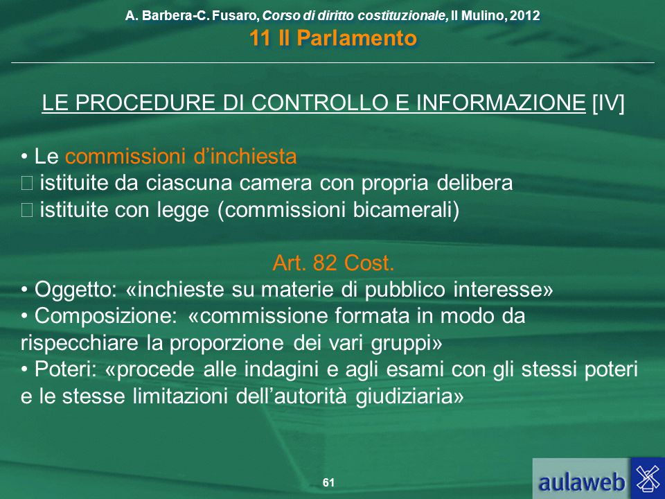 LE PROCEDURE DI CONTROLLO E INFORMAZIONE [IV]